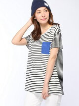 (W)ポケット付きボーダーTシャツ・カットソーP