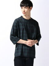 【BROWNY】(M)3メリットチェックプルオーバー7分袖シャツ