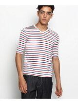 【WEB限定】ボーダーVネック5分袖Tシャツ