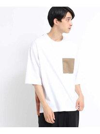 【SALE/60%OFF】tk.TAKEO KIKUCHI パネルチェック切り替えプルオーバー ティーケータケオキクチ カットソー Tシャツ ホワイト ブラック