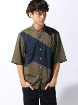 オータムパネルバンドカラー5分袖シャツ