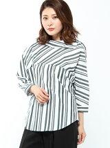 RAW FUDGE/袖ボリュームストライプシャツ