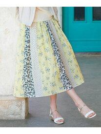 any SiS L 【洗える】スプリングパネルプリントスカート エニィスィス スカート スカートその他 イエロー ネイビー【送料無料】
