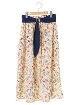 OLIVE des OLIVE OLIVE サッシュベルト付花柄ティアードスカート