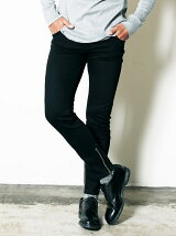 NO.62 STRETCH BLACK DENIM ZIP PANTS