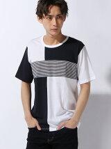 ブロック×ボーダーTシャツ