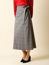 【秋の新作】グレンチェック柄ラップスカート