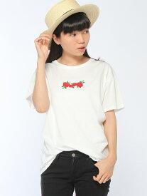 GIORDANO (L)ローズ刺繍Tシャツ ジョルダーノ カットソー
