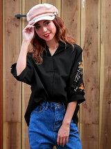 CHILLE袖刺繍バックボタンスキッパーシャツ
