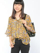(L)【袖フリル】花柄楊柳ブラウス