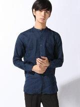 (M)フレンチリネンバンドカラーロングシャツ