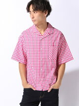 (M)ギンガムチェックオープンカラー半袖ワイドシャツ
