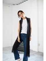 5G透かし柄編みフリンジジレ