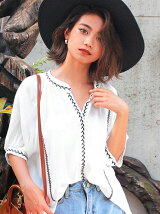 CHILLE刺繍5分袖スキッパーシャツ
