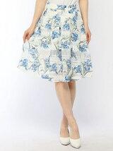 オーガンジーレース花柄タックスカート