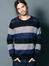 WOOL MOHAIR GRADATION BOADER KNIT