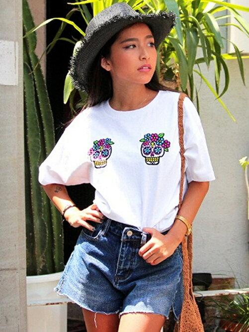 ANAPカラベラスカル刺繍Tシャツ