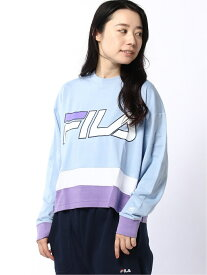FILA FILA/(W)ショート丈切替ロングTシャツ エーストリート カットソー Tシャツ ブルー ネイビー ブラック ホワイト