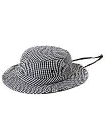 【SALE/30%OFF】SHIPS WOMEN アドベンチャーギンガムチェックハット シップス 帽子/ヘア小物 帽子その他 ブラック グレー