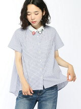 花と鳥刺繍衿ロングテールシャツ