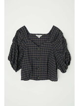 PUFF SLEEVE CHECK CROP トップス