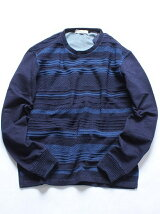 NAVAL/インディゴ染め袖切替クルーネックニット