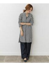 mizuiro-ind stripe mao collar shirt one-piece