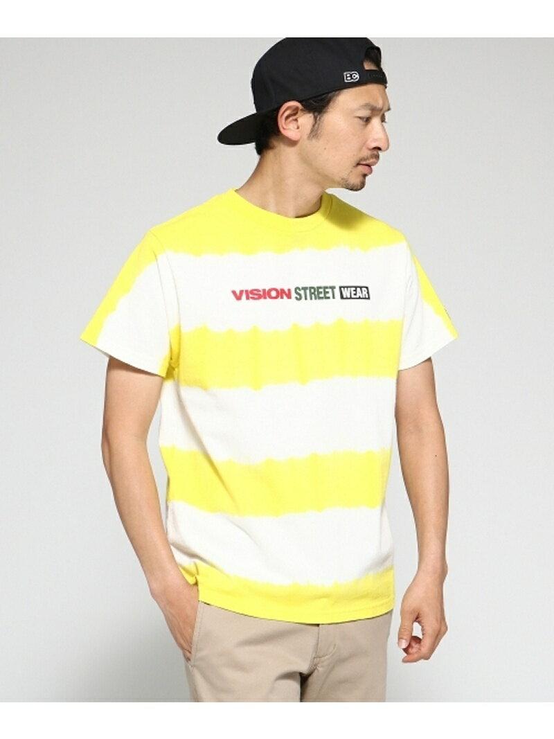 BASE CONTROL Tシャツ メンズ VISION/ビジョン別注 ボーダータイダイT ベース ステーション カットソー【送料無料】