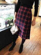 【WEB限定】◎JC レッドチェック 巻きプリーツスカート