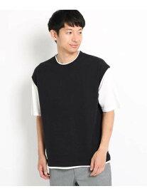 【SALE/50%OFF】THE SHOP TK ニットベストフェイクTシャツ ザ ショップ ティーケー カットソー Tシャツ ブラック ブラウン ベージュ ネイビー