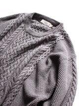 ニオワナイ!吸湿発熱ベーシックアラン編みクルーネックニット