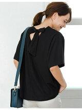 バックリボンカット袖フレアTOPS/ブラック