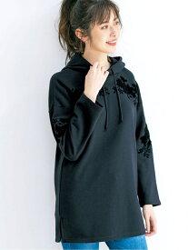 【SALE/70%OFF】Ranan 刺しゅうスエットパーカーチュニック ラナン カットソー パーカー グレー ブラック