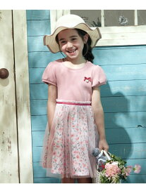 any FAM KIDS 花柄ドッキング ワンピース エニィファム ワンピース シャツワンピース ピンク ネイビー パープル