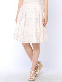 【SALE/61%OFF】LAISSE PASSE Flower刺繍ボーダーSK レッセパッセ スカート【RBA_S】【RBA_E】【送料無料】