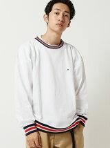 CHAMPION × BEAMS / 別注 ラインリブ ルーズフィット Tシャツ <秋 冬 新着>