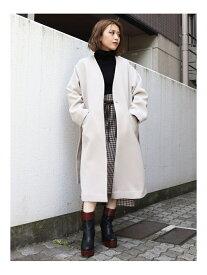 MURUA ノーカラーモッサコート ムルーア コート/ジャケット ロングコート ホワイト ブラック ブラウン【送料無料】