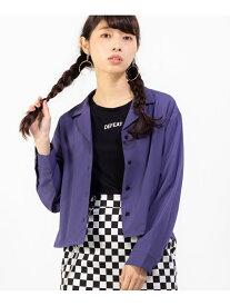 【SALE/20%OFF】WEGO WG/(L)オープンカラークロップドシャツ ウィゴー シャツ/ブラウス 長袖シャツ パープル ピンク ブラック ブラウン ベージュ