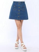 【BROWNY STANDARD】(L)前ボタンポケ付Aラインスカート