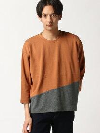 【SALE/20%OFF】SPENDY'S Store 綿ポンチ9分袖BIG切替Tシャツ スペンディーズストア カットソー Tシャツ オレンジ グリーン