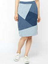 デニムパッチワークタイトスカート