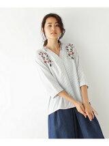 七分袖刺繍ストライプシャツ
