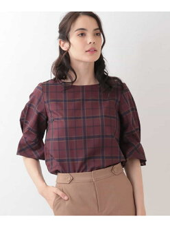 OFUON 3D check design puff blouse off on shirt / blouse shirt / blouse and others purple navy