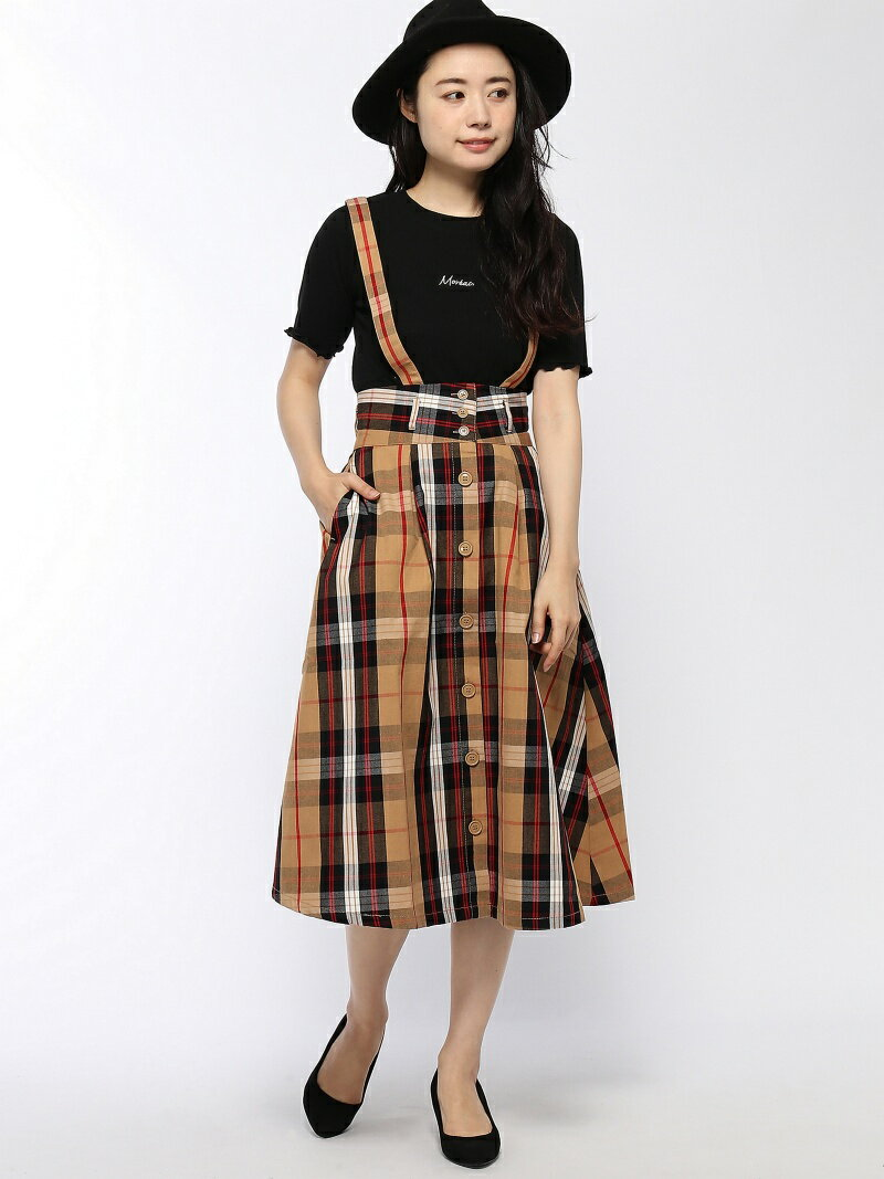 BROWNY BROWNY/(L)サス付前ボタンタックミモレスカート ウィゴー スカート