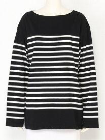 Mila Owen ビックシルエットパネルボーダーTEE ミラオーウェン カットソー Tシャツ ブラック ブラウン ホワイト【送料無料】