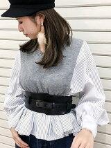 【cheap!!by vaNite】ストライプシャツ切替トップス