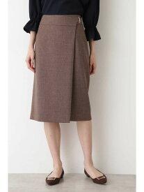 【SALE/30%OFF】NATURAL BEAUTY BASIC [洗える]ラップ風ハトメストレートスカート ナチュラルビューティベーシック スカート スカートその他 ブラウン ネイビー グリーン【送料無料】