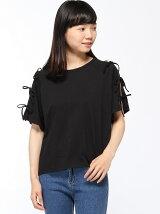 【BROWNY STANDARD】(L)肩開きリボンスリーブTシャツ
