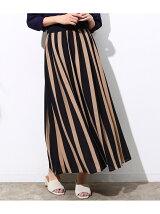 ボールドストライプワイドスカート