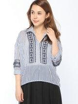 クロスステッチ刺繍スキッパーシャツ